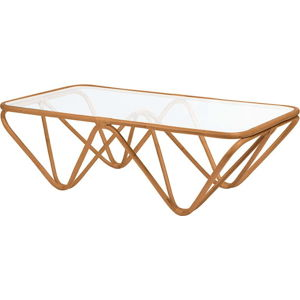 Ratanový konferenční stolek se skleněnou deskou RGE Jura, 75 x 144 cm