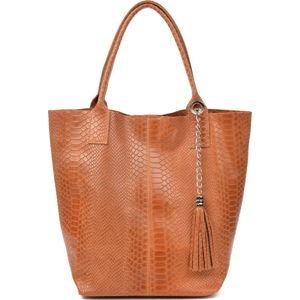Kožená dámská kabelka v koňakově hnědé barvě Renata Corsi Michela