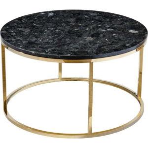 Černý žulový konferenční stolek s podnožím ve zlaté barvě RGE Crystal, ⌀ 85 cm