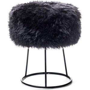 Stolička s černým sedákem z ovčí kožešiny Royal Dream, ⌀36cm